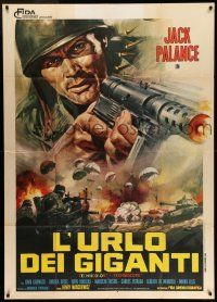 6w740 BULLET FOR ROMMEL Italian 1p '69 cool close up art of Jack Palance with machine gun!