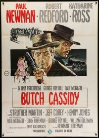 6w743 BUTCH CASSIDY & THE SUNDANCE KID Italian 1p '69 different art of Paul Newman, Redford & Ross!