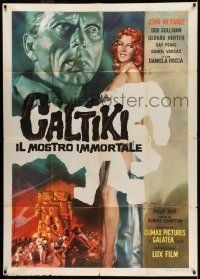 6w744 CALTIKI THE IMMORTAL MONSTER Italian 1p '59 different Valcarenghi art of sexy redhead girl!