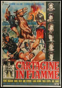 6w749 CARTHAGE IN FLAMES Italian 1p '60 Cartagine in Fiamme, Anne Heywood, different art by Manno!