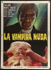 6w897 NUDE VAMPIRE Italian 1p '70 great Calma art of wacky vampire & his sexy female victim!