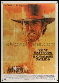 6w902 PALE RIDER Italian 1p '85 great artwork of cowboy Clint Eastwood by C. Michael Dudash!