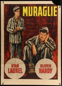 6w903 PARDON US Italian 1p R65 different art of convicts Stan Laurel & Oliver Hardy, classic!