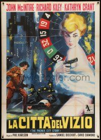 6w907 PHENIX CITY STORY Italian 1p R63 classic noir, different roulette wheel art by Casaro!