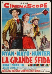 6w914 PROUD ONES Italian 1p '56 different art of Robert Ryan, Virginia Mayo & Jeffrey Hunter!