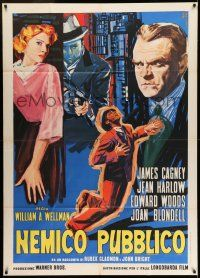 6w915 PUBLIC ENEMY Italian 1p R63 cool completely different art of James Cagney & Mae Clarke!