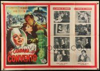 6w973 THUNDER ON THE HILL Italian 1p '54 different De Amicis art of nun Claudette Colbert & cast!