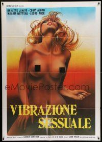 6w982 VIBRATIONS SEXUELLES Italian 1p '77 super sexy art of censored naked blonde Brigitte Lahaie!