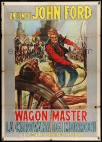 6w985 WAGON MASTER Italian 1p R62 John Ford, Ben Johnson, different artwork by Casaro!