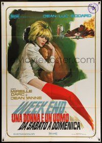 6w987 WEEK END Italian 1p '68 Jean-Luc Godard, completely different art of sexy Mireille Darc!