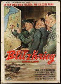6w029 BLITZKRIEG Italian 2p '62 different Longi art of Adolf Hitler by French map w/Nazi officers!