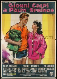 6w089 PALM SPRINGS WEEKEND Italian 2p '64 different Cesselon art of Troy Donahue & Stefanie Powers!