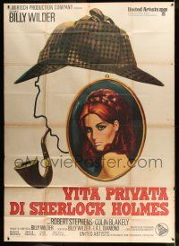6w093 PRIVATE LIFE OF SHERLOCK HOLMES Italian 2p '71 Billy Wilder, cool different detective art!
