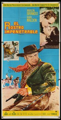 6w002 ONE EYED JACKS Mexican 3sh '59 art of star & director Marlon Brando with gun & bandolier!