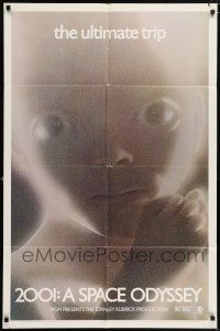 7b002 2001: A SPACE ODYSSEY 1sh R74 Stanley Kubrick, greenish-blue image of star child!