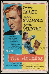 7b009 ACTRESS 1sh '53 Jean Simmons, cool close-up art of Spencer Tracy!