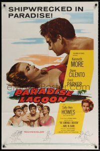 7b010 ADMIRABLE CRICHTON 1sh '58 art of Kenneth More on the beach with Cilentro and sexy girls!