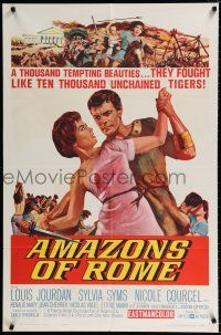 7b019 AMAZONS OF ROME 1sh '63 Louis Jourdan, they fought like 10,000 unchained tigers!