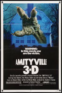 7b023 AMITYVILLE 3D 1sh '83 cool 3-D image of huge monster hand reaching from house!