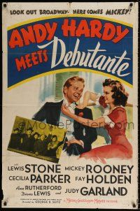 7b026 ANDY HARDY MEETS DEBUTANTE style C 1sh '40 close up of young Mickey Rooney & Judy Garland!