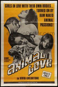 7b031 ANIMAL LOVE 1sh '69 girls in love with their own bodies, naked animal passions, Kenny!