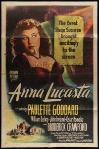 7b034 ANNA LUCASTA 1sh '49 great close up of sexy prostitute Paulette Goddard smoking!