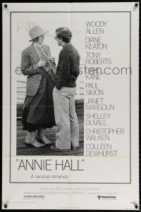 7b039 ANNIE HALL 1sh '77 full-length Woody Allen & Diane Keaton in a nervous romance!