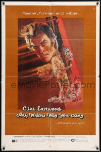 7b041 ANY WHICH WAY YOU CAN 1sh '80 cool artwork of Clint Eastwood by Bob Peak!