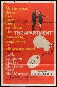 7b043 APARTMENT 1sh '60 Billy Wilder, Jack Lemmon, Shirley MacLaine, cool key-in-lock art!