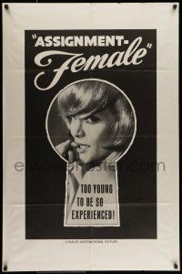 7b053 ASSIGNMENT FEMALE 1sh '66 too young to be so experienced, cool keyhole design!
