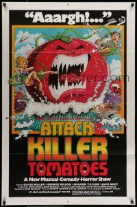 7b055 ATTACK OF THE KILLER TOMATOES 1sh '79 wacky monster artwork by David Weisman!