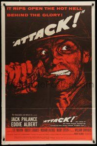 7b054 ATTACK style B 1sh '56 Robert Aldrich, art of WWII soldier Jack Palance pulling grenade pin!