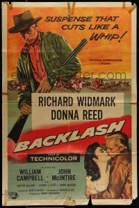7b059 BACKLASH 1sh '56 cool art of Richard Widmark, Donna Reed, suspense that cuts like a whip!
