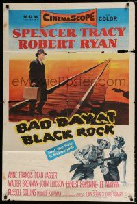 7b061 BAD DAY AT BLACK ROCK 1sh '55 Spencer Tracy tries to find out what happened to Kamoko!