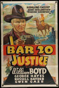 7b070 BAR 20 JUSTICE 1sh '38 alternate art of Hopalong Cassidy by the other company!