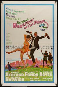 7b071 BAREFOOT IN THE PARK 1sh '67 artwork of frollicking Robert Redford & sexy Jane Fonda!