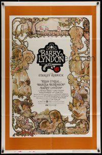 7b073 BARRY LYNDON 1sh '75 Stanley Kubrick, Ryan O'Neal, great colorful art of cast by Gehm!