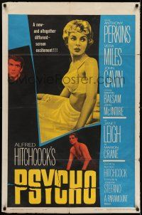 7b001 PSYCHO 1sh '60 sexy half-dressed Janet Leigh, Anthony Perkins, Alfred Hitchcock