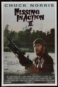 7g105 BRADDOCK: MISSING IN ACTION III int'l 1sh '88 great image of Chuck Norris w/ M-60 machine gun!