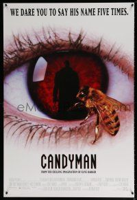 7g115 CANDYMAN 1sh '92 from Clive Barker's Forbidden, creepy close-up image of bee in eyeball!