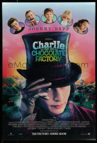 7g124 CHARLIE & THE CHOCOLATE FACTORY close-up opens soon style advance DS 1sh '05 Depp, Burton!