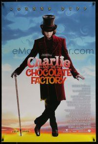 7g125 CHARLIE & THE CHOCOLATE FACTORY July 2005 advance DS 1sh '05 Depp, Burton!