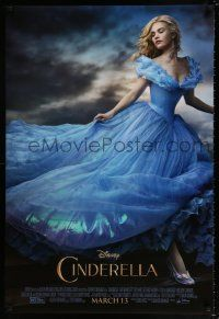 7g133 CINDERELLA advance DS 1sh '15 great image of Lilly James in the title role!