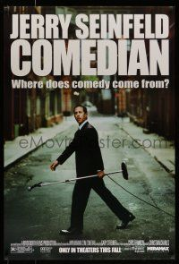 7g145 COMEDIAN advance 1sh '02 great image of Jerry Seinfeld walking across street with microphone!