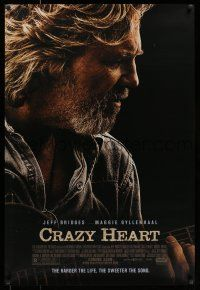 7g154 CRAZY HEART advance DS 1sh '09 great image of country music singer Jeff Bridges!