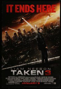 7g734 TAKEN 3 style B advance DS 1sh '15 Liam Neeson, Maggie Grace, it ends here!