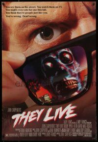 7g749 THEY LIVE DS 1sh '88 Rowdy Roddy Piper, John Carpenter, cool horror image!