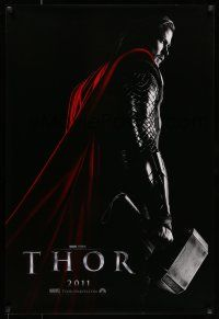 7g756 THOR teaser DS 1sh '11 cool image of Chris Hemsworth w/classic hammer!