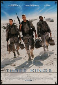 7g757 THREE KINGS advance DS 1sh '99 George Clooney, Mark Wahlberg, & Ice Cube in the Gulf War!