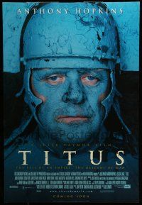 7g765 TITUS advance DS 1sh '99 wild image of blue Anthony Hopkins, Shakespeare!